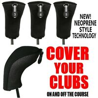 NEW THICK NEOPRENE BLACK HYBRID 3 4 5 COMPLETE GOLF CLUB FULL SET HEAD COVERS NR