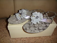 NIB COACH SHOES SANDALS SERENITY FLOWER FLIP FLOPS THONG METALLIC KID SILVER 5.5