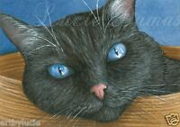 ACEO art print black Cat 414 from original painting by L.Dumas