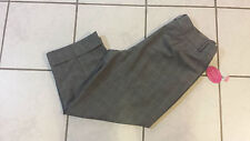 """NEW Investments Park Ave Fit Mid Rise Gray Check Cropped Pants 14, 24"""" Inseam"""