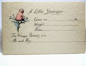 1920 POSTCARD A LITTLE STRANGER, BABY ANNOUNCEMENT, BABY ON DAISY