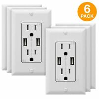High Speed Charger 3.1A USB Wall Outlet 15A Receptacles 6 Pack