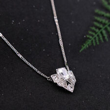 New Silver Plated Crystal Pave Art Deco Pendant Necklace Women Choker Jewelry