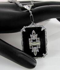 Antique Art Deco Rhodium Filigree Black Jet Smoky Rhinestones Pendant Necklace
