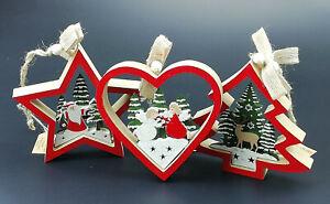 Weihnachtsbaumanhänger aus Holz  -Tannenbaumschmuck -   Neu