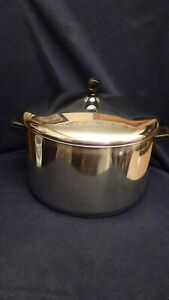 Vintage Farberware 8 QT Stock Pot Aluminum Clad Stainless Steel w/ Lid USA
