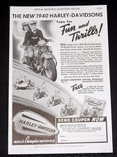 1939 OLD MAGAZINE PRINT AD, NEW 1940 HARLEY-DAVIDSONS, TOPS FOR FUN AND THRILLS!