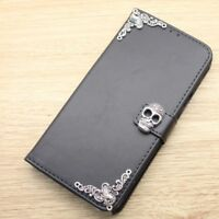 Gothic Skull Wallet Leather Flip Stand Handmade Case For Samsung Mobile Phone