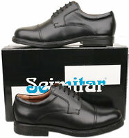 Mens New Black Leather Lace Up Cadet Style Shoes Size UK 6 7 8 9 10 11 12 13 14