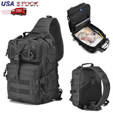 Men Sling Chest Backpack Molle Tactical Shoulder Outdoor Hiking Assault Bag