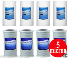 "( 8 ) Big Blue 10"" x 4.5"" Sediment Whole House + CTO Carbon Block Water Filter"
