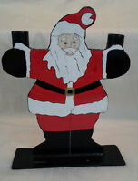 Santa Claus VTG Xmas Cast Iron Hand Painted Candle Holder Figure Stand Folk Art