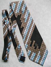 Lanvin Campagne Paris Seide Herren Krawatte breit Style Braun Blau Geometrische geprüft