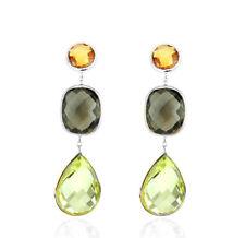 14K White Gold Gemstone Earrings With Citrine, Smoky And Lemon Topaz