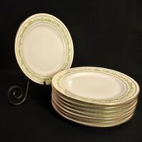 """Limoges T&V Set 8 Salad 8 5/8"""" Plates Hand Decorated Green w/Gold on White 1907"""
