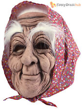 Old Woman Bag Lady Babushka Halloween Rubber Fancy Dress Mask & Headscarf