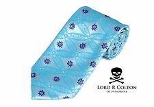 Lord R Colton Masterworks Tie - Silver & Aqua Showbiz Silk Necktie - New
