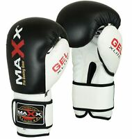 Maxx® Maya Leather Boxing Gloves MMA Training Fight Sparring Pad Glove Punch B/W
