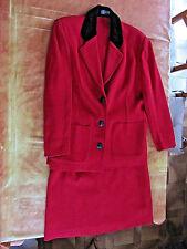 bel ensemble jupe + veste rouge laine & acrylique T44 Devernois France vêtement