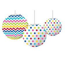 RAINBOW POLKA DOTS CHEVRON PAPER LANTERNS (3) ~ Birthday Party Supplies Hanging