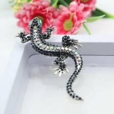 Unisex Vintage Rhinestone Sparkling Gecko Lizard Animal Fastener Brooch Pin Sh