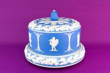 Large Cheese Dish Jasperware Platter Dome Lid Blue & White Antique Victorian Eng