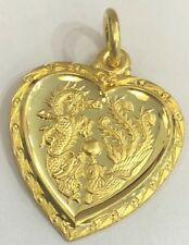 24K Yellow Gold Year Dragon Pendant Chinese Zodiac Animal Sign Heart 3.9g