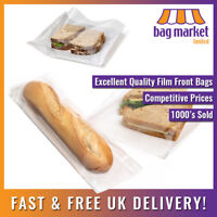 Film Front White Paper Bags!   Cellophane/Window/Sandwich/Food/Card/Cake/Sweets