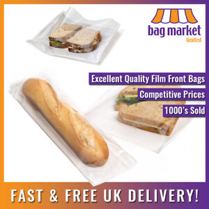 Film Front White Paper Bags! | Cellophane/Window/Sandwich/Food/Card/Cake/Sweets