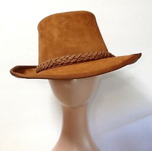 Vintage 60's 70's Suede Leather Hat Hippie Hillbilly Bohemian Braided Leather M
