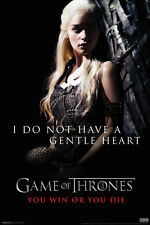 Game of Thrones GoT Daenerys Gentle Heart Win Quote HBO Series Poster 12x18