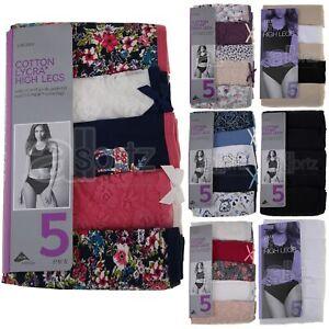 Ladies Top Uk Store Briefs Knickers 5 Pack High Leg Cotton Lycra M S L XL Multi