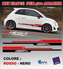ADESIVI STICKERS ABARTH 500 FASCE LATERALI   NERO - ROSSO stripes 500s new look