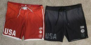 Hurley USA Olympic Board Shorts Black & Red Striped Phantom 2 Pair Swim Trunks