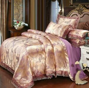 Jacquard Silk Mulberry 4 pc Duvet Cover Quilt Blanket Fitted Sheet Pillow Case
