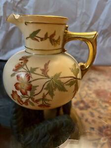 """Antique Royal Worcester 5"""" Pitcher Handpainted Flowers"""