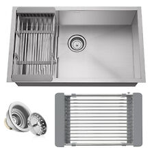 New listing Open Box - Stainless Steel Single Bowl Undermount Kitchen Sink Basin with Rack