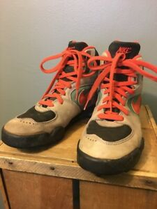 Vtg 80s 90s Nike Leather Hiking Boots Shoes Mens 8.5 Orange Green Black Korea 90