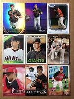 Joe Panik Blue Jays 9 Card Giants Lot With 2011 1st Bowman Chrome Rookie, Purple