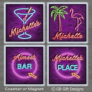 Personalised Coaster or magnet Flamingo Cocktail Neon Style Birthday Xmas Gift