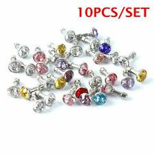 10Pcs Bling Diamond Mixed Crystal 3.5mm Earphone Jack Anti Dust Plug Cap Stopper