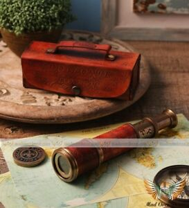 """VINTAGE NAUTICAL BRASS LEATHER 17""""DOLLOND LONDON ANTIQUE TELESCOPE W LEATHER BOX"""