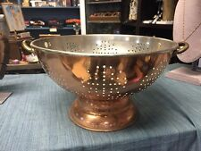 "Vintage Tall Copper Metal Brass Handles  Colander Large 12"" By 7 """