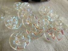 lot 6 boutons vintage en verre irisé effet craquelé diamètre 1,3 ref 1691