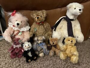 LOT of 8 Vintage Mohair Teddy Bears Boyd, Hermann, Raikes, Funicello, Sugarloaf