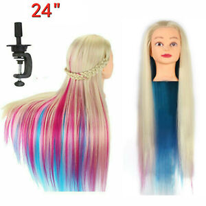 24in Salon Color Hair Training Head Hairdressing Styling Mannequin Doll + Clamp