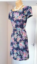 NEW LOOK Navy Blue Floral Fit & Flare Summer Holiday Tea Party Dress - Size 16