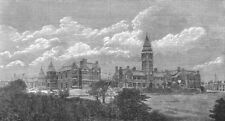 LANCS. New hospital, Bolton, Lancashire, antique print, 1881