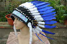 21inch royal blue indian feather headdress indian warbonnet american costumes