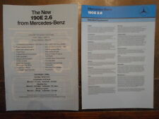 MERCEDES BENZ 190E 2.6 1987 UK Mkt Specs & Technical Data Leaflet Brochures x2